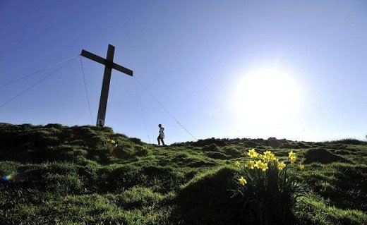 Each year at Easter a cross is erected in the same place on Otley Chevin, held in place by wire stays against stiff winds