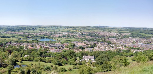 The view back from the Chevin Forest to Otley - West Riding urban landscape punctuated by smaller parkland and tree-lined streets