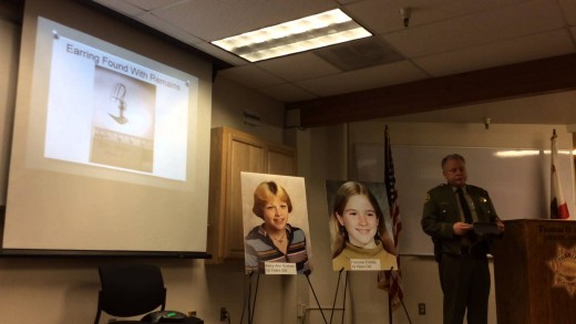 Mendocino Sheriff Tom Allman speaking to media and the families of Graham and Trimble.