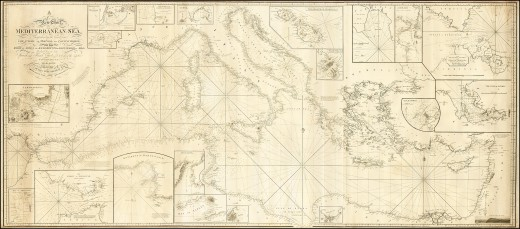 A highly detailed map of the Mediterranean, looking much like what might be used in the time.