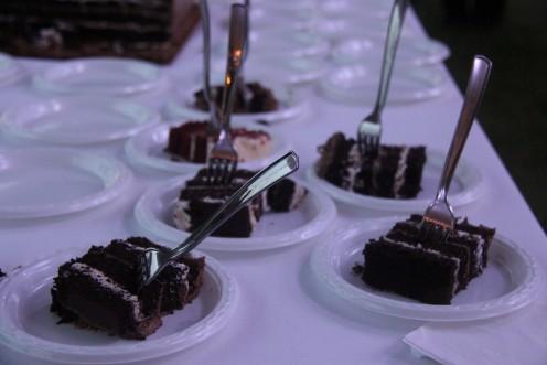 Slices of chocolate wedding cake.