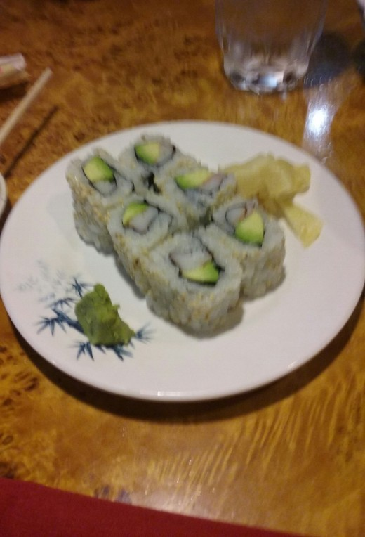 Fresh and delicious California Roll from the sushi bar at the restaurant, Asahi Japanese Steakhouse and Sushi Bar.