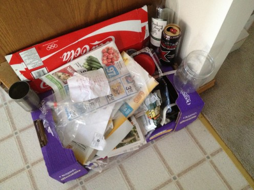 Typical recycling collection in private homes