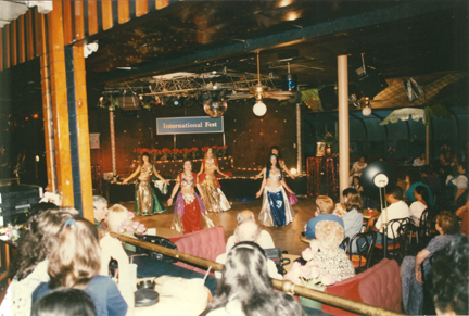 Belly dancers perform often in international show events.