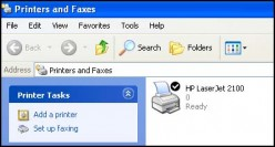 Printers and Faxes option in Windows XP.