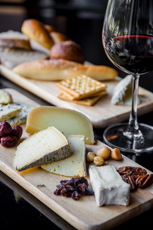Have a rich full bodied wine and cheese display