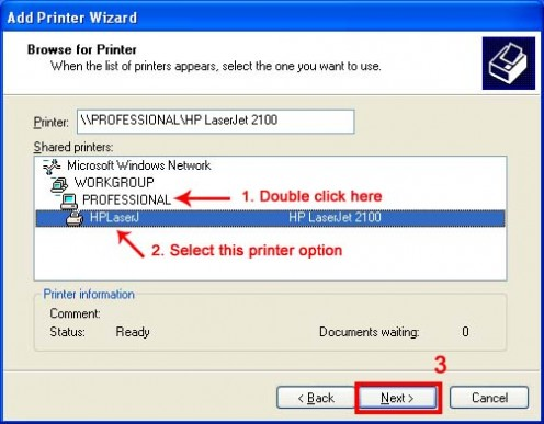 Select a printer shared on LAN network.