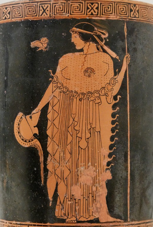 Athena is depicted here with an owl over her right shoulder.