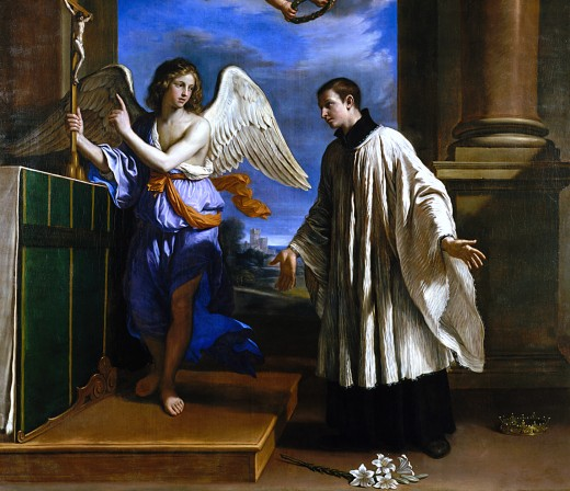 This is a detail of a painting by Guercino, titled the Vocation of St. Aloysius. St. Aloysius is shown renouncing the crown for the Cross.