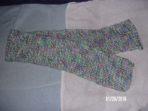 Scarf made with 2 balls of Herrschner's Tulip yarn.
