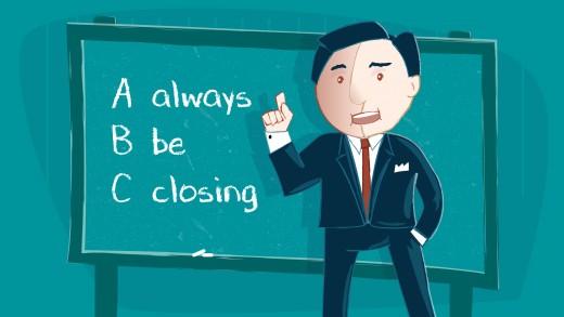 ABC Always Be Closing Alec Baldwin Glengarry Glen Ross Sales green