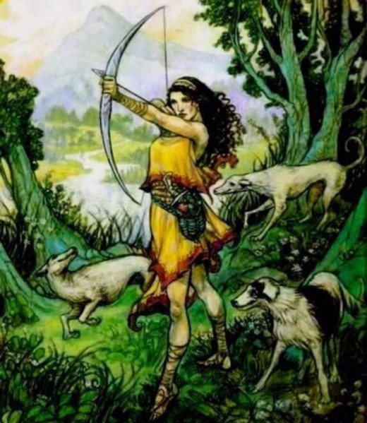 Artemis is usually depicted as a girl dressed in a short, knee-length tunic and equipped with a hunting bow and arrows.