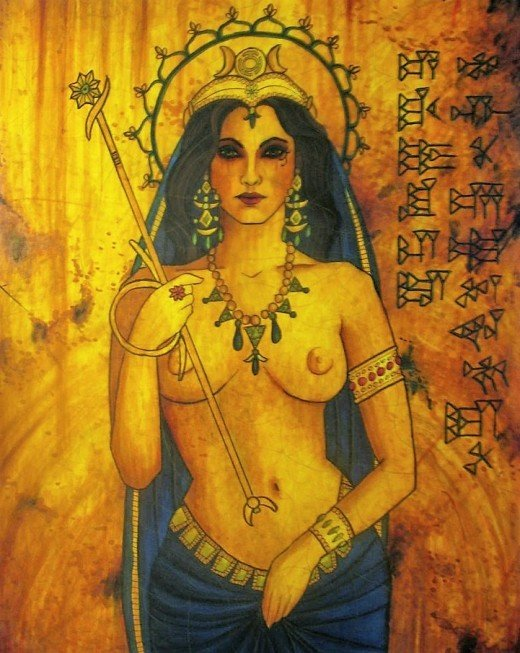 Inanna (Ishtar), the Queen of Heaven and Earth, is usually depicted as a beautiful curly-haired goddess in lavish clothes or naked.