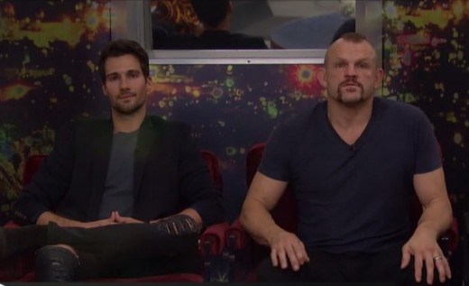 James sitting next to Chuck on eviction night on Celebrity Big Brother