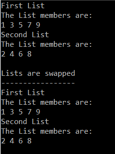 Program Output of C++ Standard List Swapping