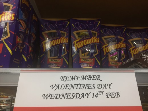 There's no escaping Valentine's Day. Reminders are everywhere including my corner store..