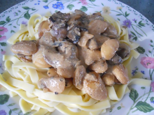 Bean Stroganoff Served Over Noodles