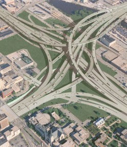 Interchange design and landscaping in infrastructure renewal. ARRA 2009 funding permits additional jobs in these fields that create manpower demands. (public domain)