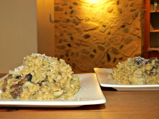 Mushroom risotto ready to eat