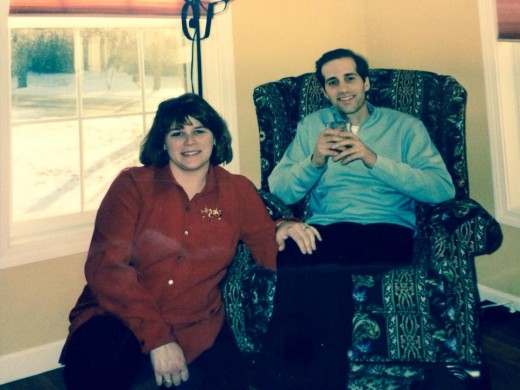Steven and I Christmas 2000. A month after his esophageal surgery. I was 7 months pregnant with our daughter.
