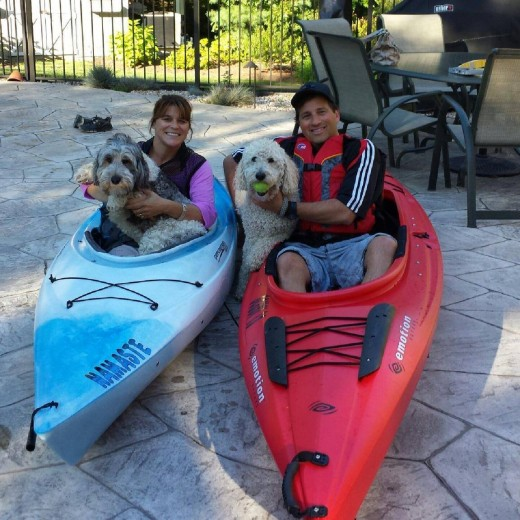 One of our favorite past times! New kayaks! Lilly & Dunkin had to join us.
