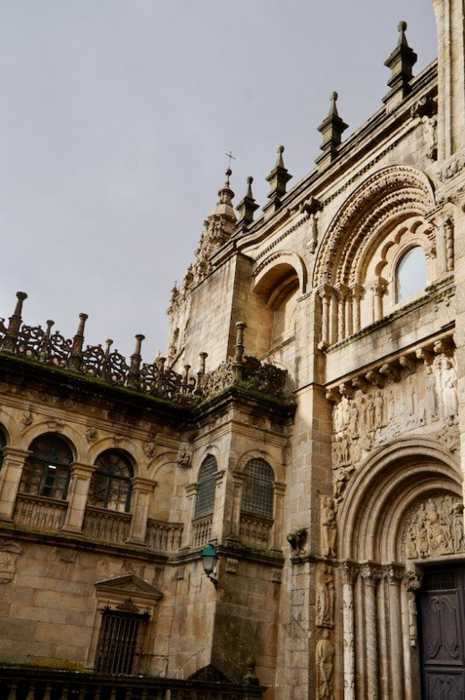 Romanesque Facade of the Cathedral in Santiago