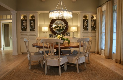 Your dining room rug should be big enough to allow for chairs to pull back and still be on the rug surface.