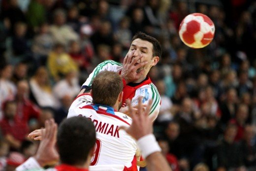 Ferenc Ilyés, Hungarian Handball player blocked with foul by Polish player, 2010