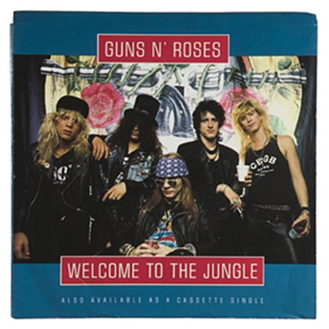 "Cover for Guns & roses' single, ""Welcome to the Jungle."""