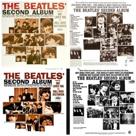 The album cover on the top is the one most of us have; the bottom one may be a rare version.  Source: http://www.thebeatlesbutchershop.com/SECOND_ALBUM_MONO_PAGE_1.jpg