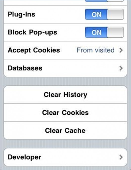 How to clear the history of the Safari Browser.
