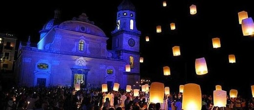 Lanterns floating up into the sky at the Light Festival
