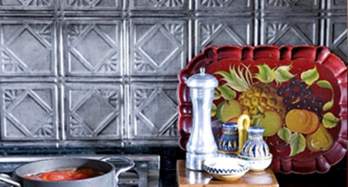 A pressed tin backsplash will give your kitchen a traditional feel.