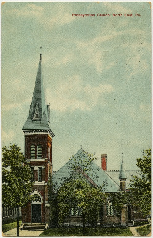 Presbyterian church in North East, Pennsylvania from a pre-1923 postcard From RG 428, Postcard Collection, Presbyterian Historical Society, Philadelphia, Pennsylvania.