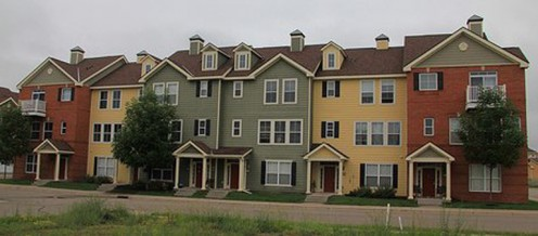 A row of cheerful townhomes.