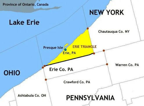 Map of Erie Triangle in Erie County, Pennsylvania and surrounding area. (Created via National Atlas online mapmaker, a public-domain resource of U.S. gov.)