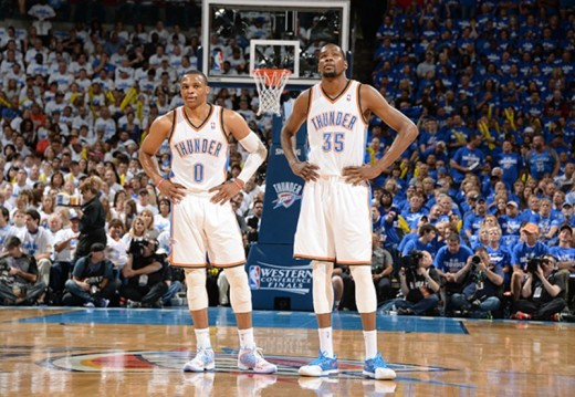 Russell Westbrook (Left) and Kevin Durant (Right) in the Western Conference Finals