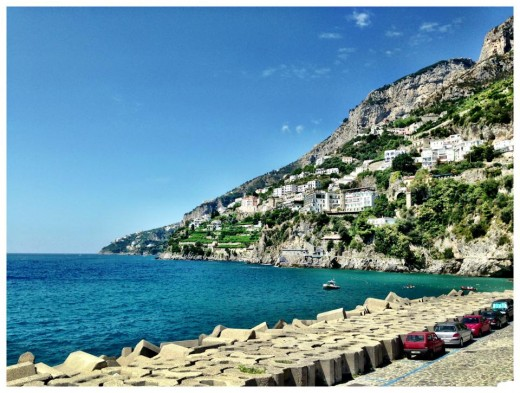 Views from the shoreline in Amalfi