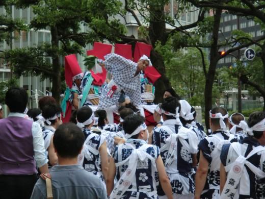 Taiko drum float in downtown Osaka