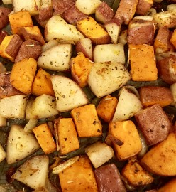 Roasted Red & Sweet Potatoes with Shallots