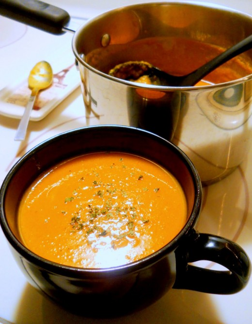 soup made from roasted butternut, garlic and onions.