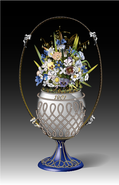 Basket of Flowers Easter Egg, commissioned by Tsar Nicholas II in 1901 as a gift for his wife. Now in the private collection of the British Royal Family.