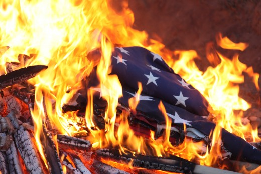 Ceremonial Burning of the American Flag