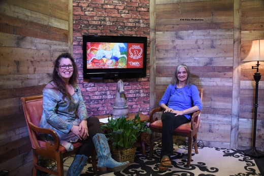 Diana De Rosa being interviewed at the KM Video Productions studio by Patty Rose.