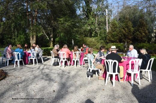 Breakfast in the courtyard of Jack Brantley's historic home.