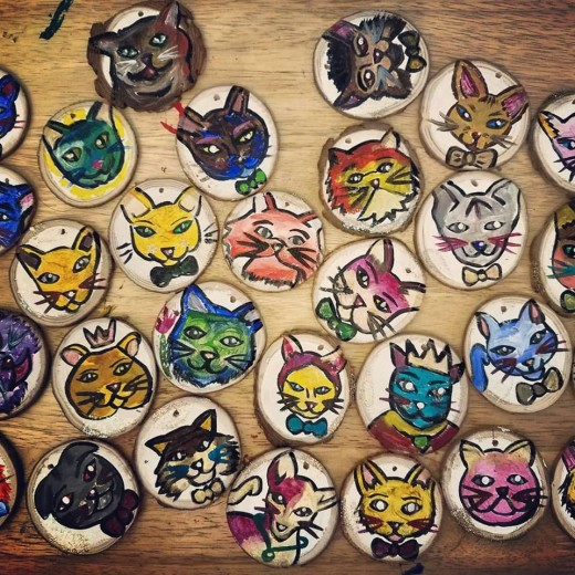 A picture of took of all my thirty finished cat ornaments!