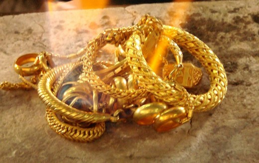 Scrap gold is melted down to create new items of jewelry.