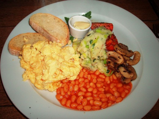 Scrambled eggs are a key part of a vegetarian breakfast fry-up.