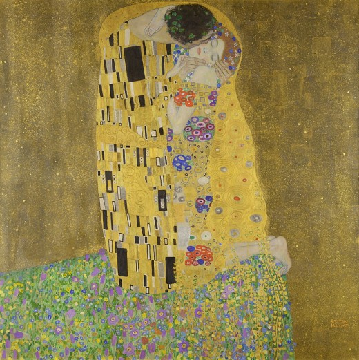The Kiss by Gustav Klimt uses real gold. It was created just before the outbreak of World War One. Is there a story here about wealth and decadence versus death and destruction?