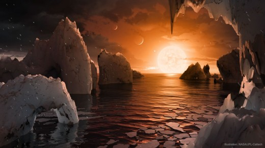 An artistic impression of what the surface of recently discovered exoplanet TRAPPIST-1f (a potentially habitable world) might look like.